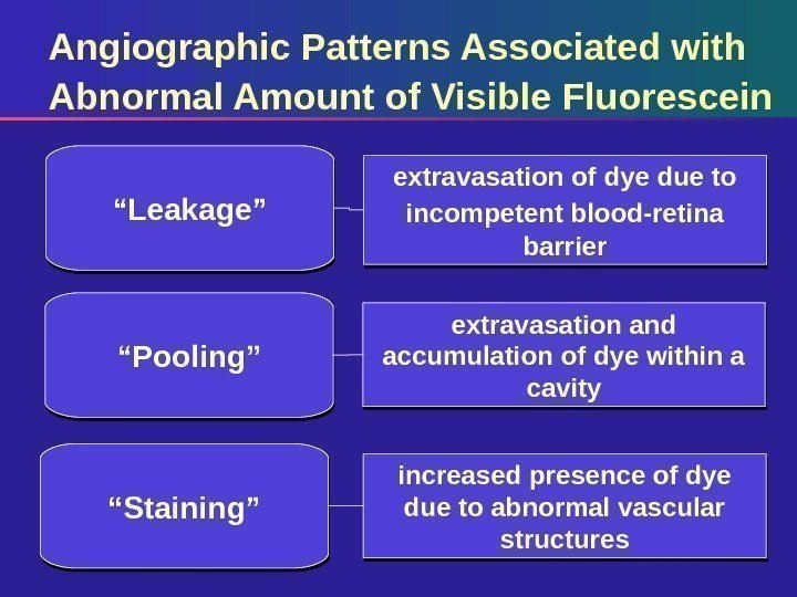 Angiographic Patterns Associated with Abnormal Amount of Visible Fluorescein extravasation of dye due to