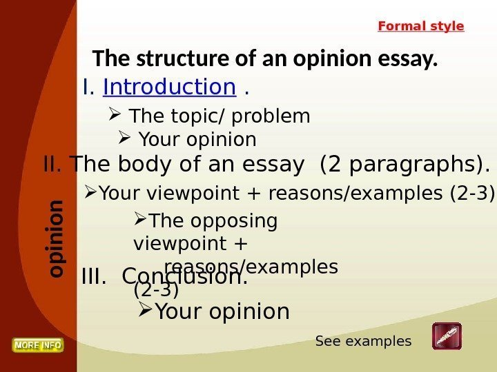 Examples Of Opinion Essays