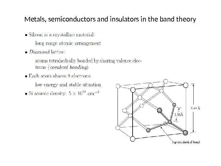 Metals, semiconductors and insulators in the band theory