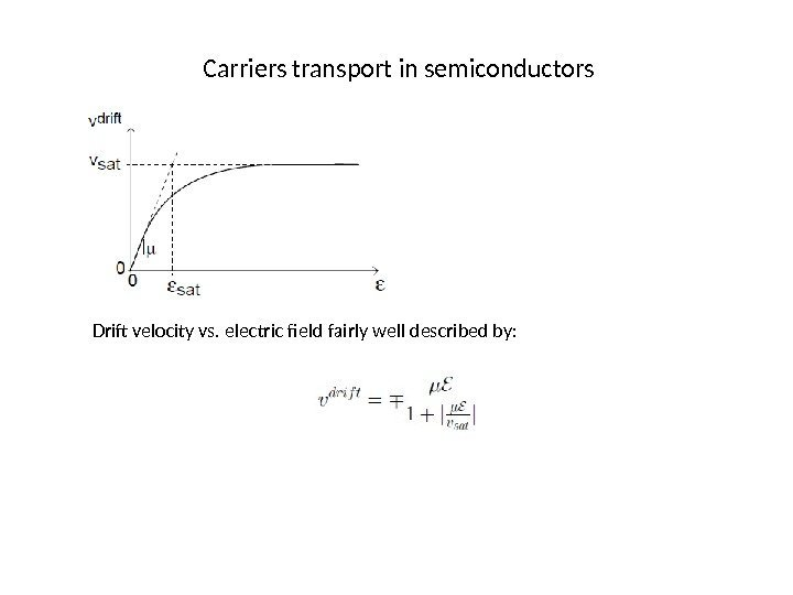 Carriers transport in semiconductors Drift velocity vs. electric field fairly well described by: