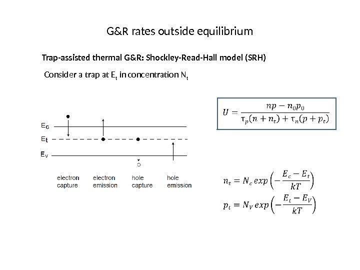 G&R rates outside equilibrium Trap-assisted thermal G&R: Shockley-Read-Hall model (SRH) Consider a trap at