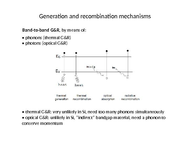 Generation and recombination mechanisms Band-to-band G&R , by means of:  •  phonons