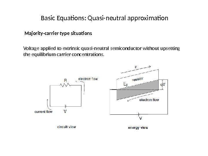 Basic Equations: Quasi-neutral approximation Majority-carrier type situations Voltage applied to extrinsic quasi-neutral semiconductor without