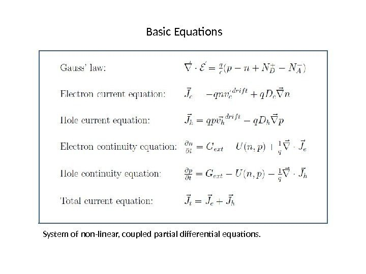 Basic Equations System of non-linear, coupled partial differential equations.