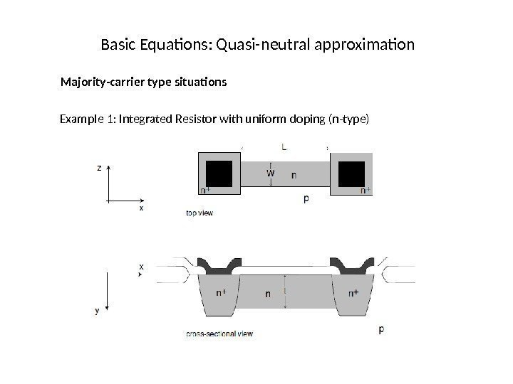 Basic Equations: Quasi-neutral approximation Majority-carrier type situations Example 1: Integrated Resistor with uniform doping