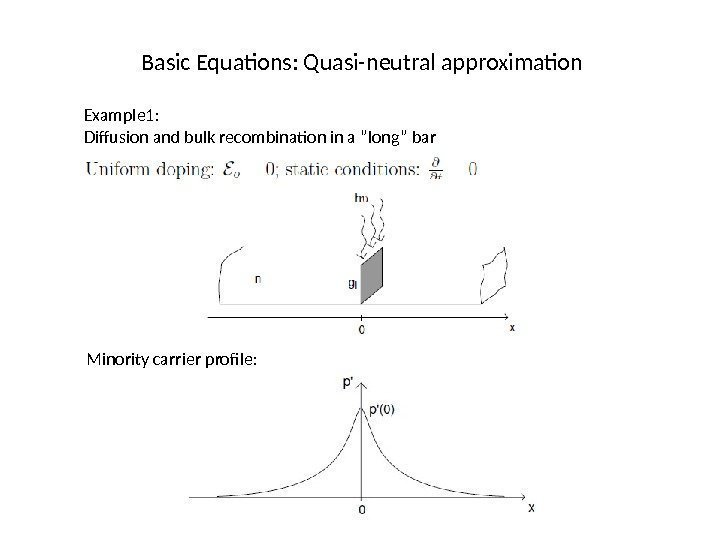 "Basic Equations: Quasi-neutral approximation Example 1: Diffusion and bulk recombination in a ""long"" bar"