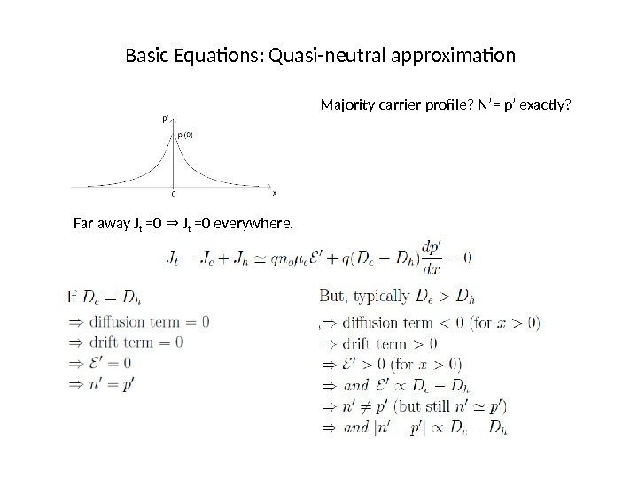 Basic Equations: Quasi-neutral approximation Majority carrier profile? N'= p' exactly? Far away J t