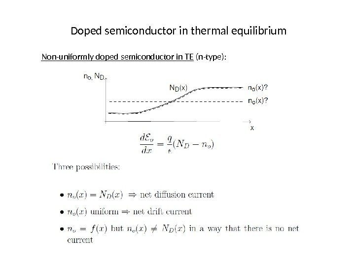 Doped semiconductor in thermal equilibrium Non-uniformly doped semiconductor in TE (n-type):