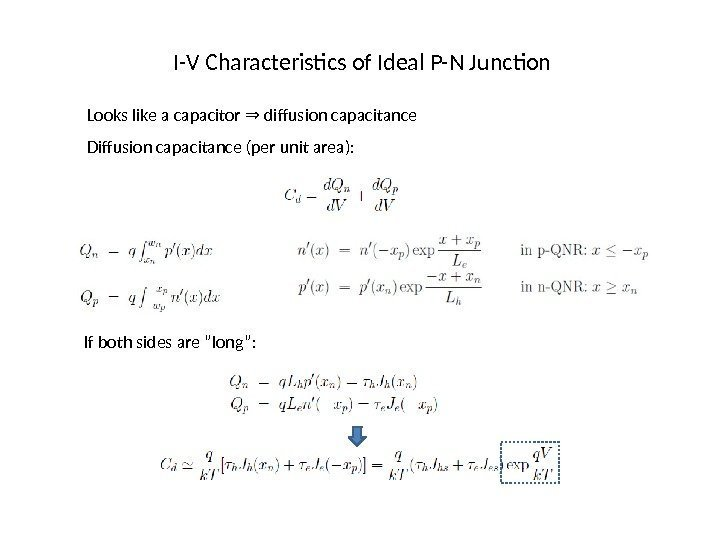 I-V Characteristics of Ideal P-N Junction Looks like a capacitor  diffusion capacitance⇒ Diffusion