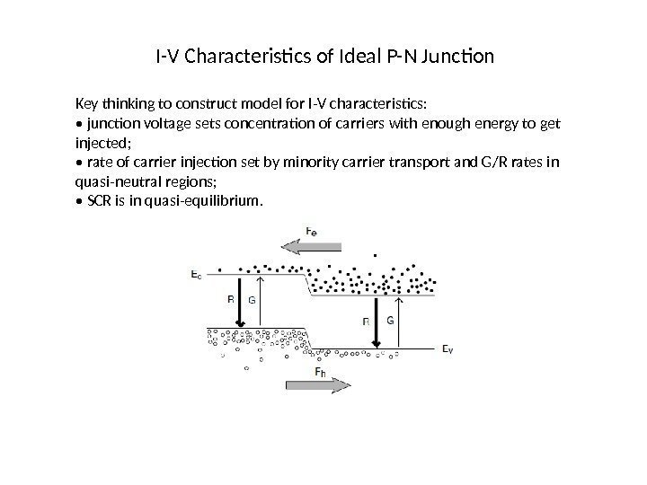 I-V Characteristics of Ideal P-N Junction Key thinking to construct model for I-V characteristics: