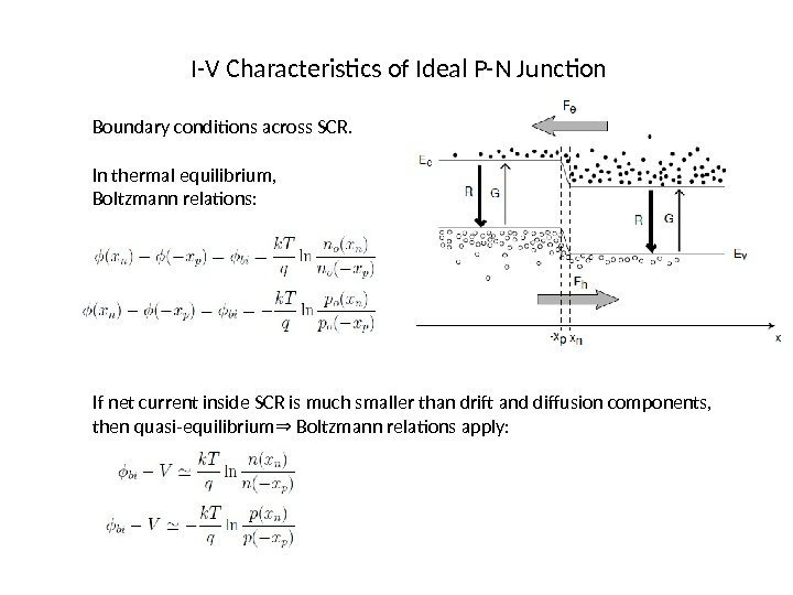 I-V Characteristics of Ideal P-N Junction Boundary conditions across SCR.  In thermal equilibrium,