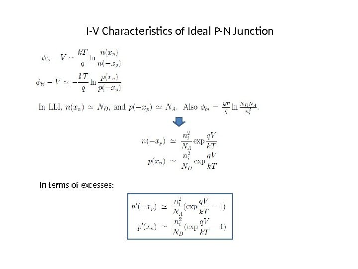 I-V Characteristics of Ideal P-N Junction In terms of excesses: