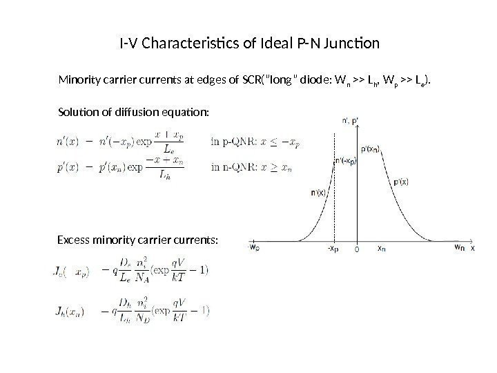 "I-V Characteristics of Ideal P-N Junction Minority carrier currents at edges of SCR(""long"" diode:"