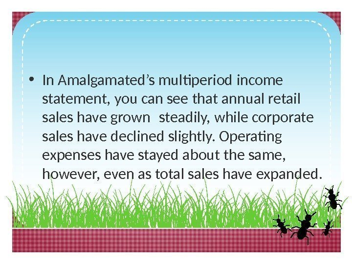 • In Amalgamated's multiperiod income statement, you can see that annual retail sales