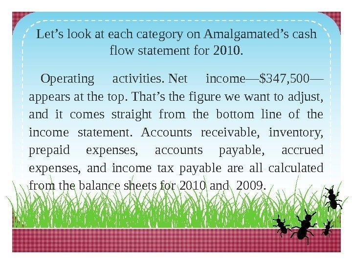 Let's look at each category on Amalgamated's cash flow statement for 2010. Operating activities.