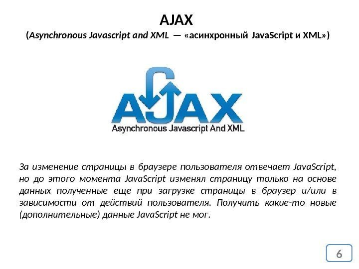 6 AJAX ( Asynchronous Javascript and XML — «асинхронный Java. Script и XML» )
