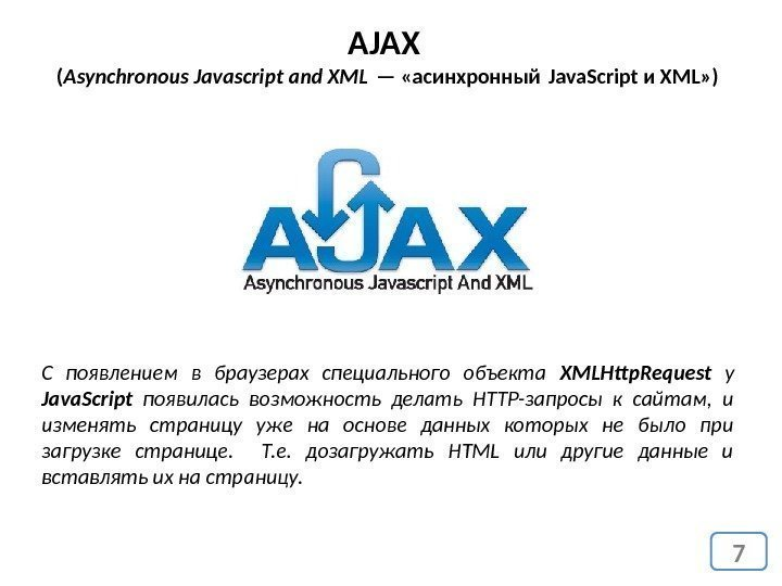 7 AJAX ( Asynchronous Javascript and XML — «асинхронный Java. Script и XML» )