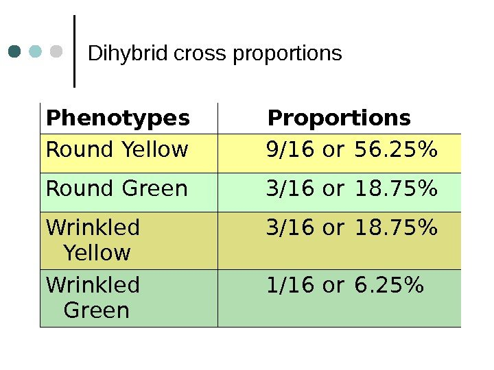 Dihybrid cross proportions Phenotypes Proportions Round Yellow 9/16 or 56. 25 Round Green 3/16