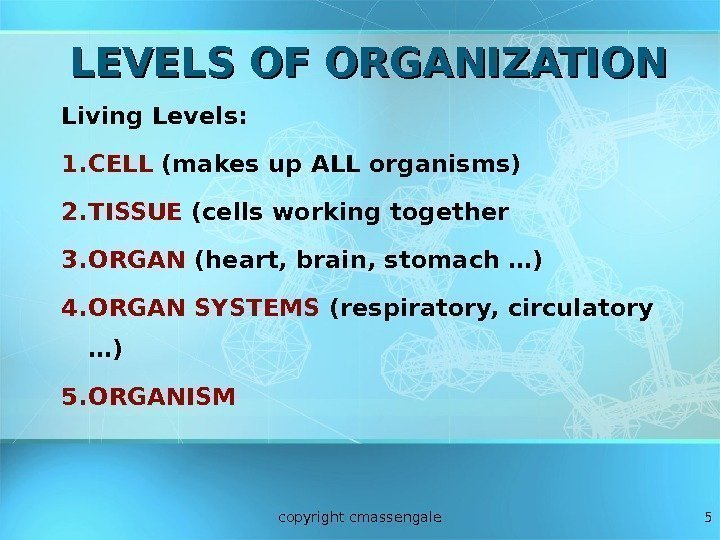 5 LEVELS OF ORGANIZATION Living Levels: 1. CELL (makes up ALL organisms) 2. TISSUE