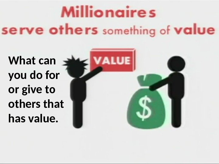 What can you do for or give to others that has value.