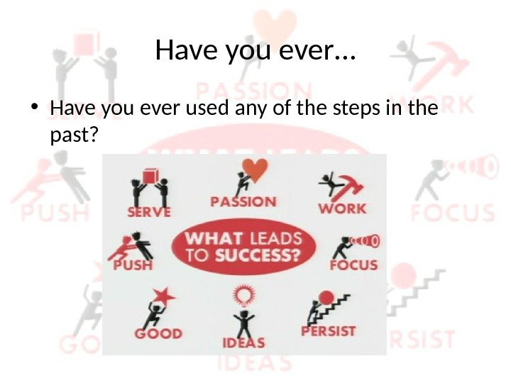 Have you ever… • Have you ever used any of the steps in the