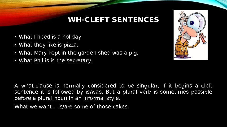 WH-CLEFT SENTENCES • What I need is a holiday.  • What they like