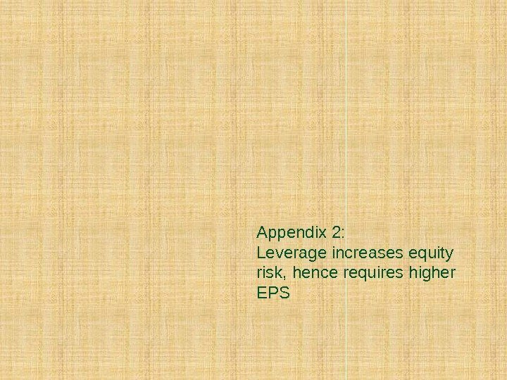 Appendix 2: Leverage increases equity risk, hence requires higher EPS