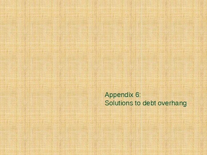 Appendix 6: Solutions to debt overhang