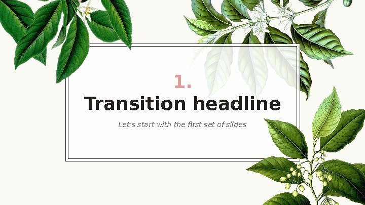 1. Transition headline Let's start with the first set of slides