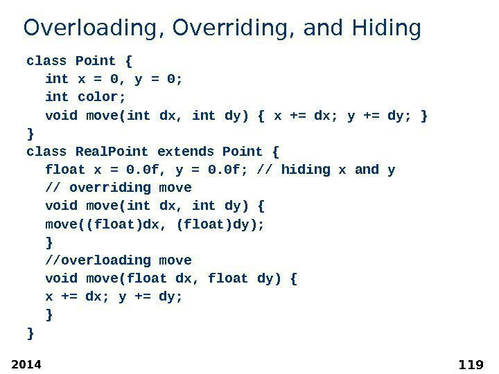 2014 119 Overloading, Overriding, and Hiding class Point { int x = 0, y