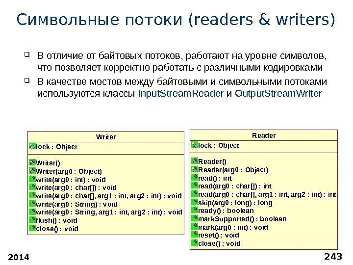 2014 243 Символьные потоки (readers & writers) В отличие от байтовых потоков, работают на
