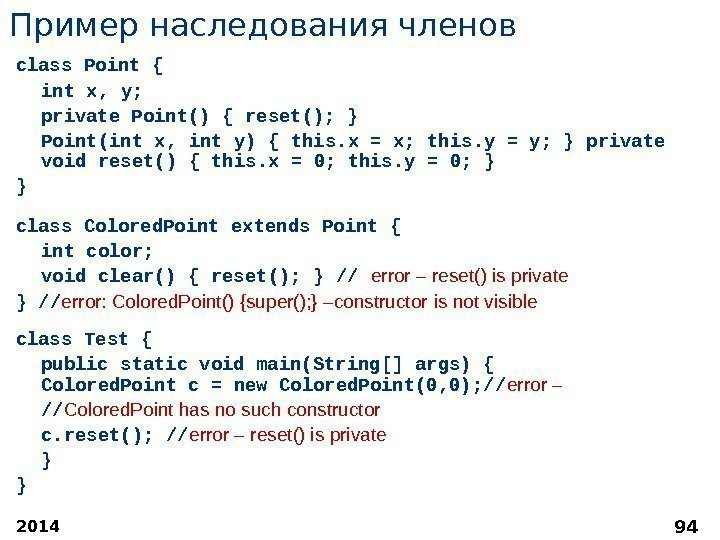 2014 94 Пример наследования членов class Point { int x, y;  private Point()