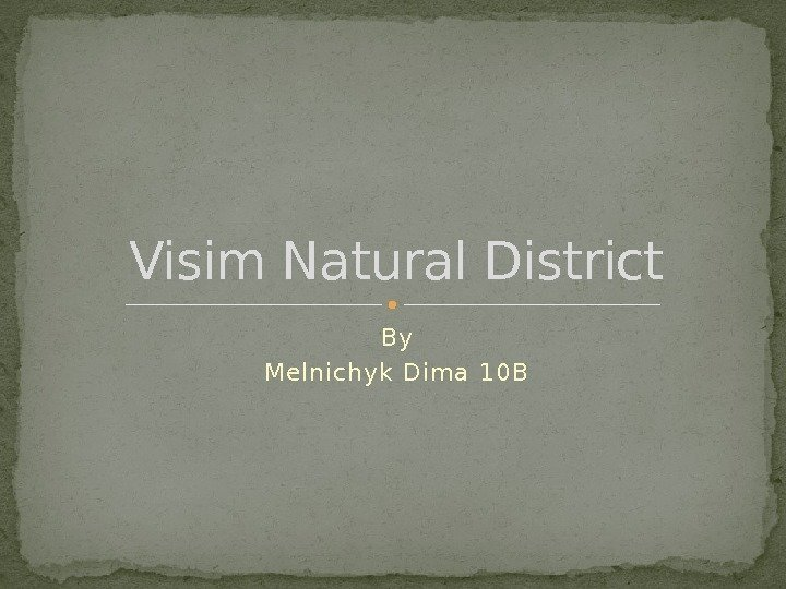 By Melnichyk Dim a 10 BVisim Natural District