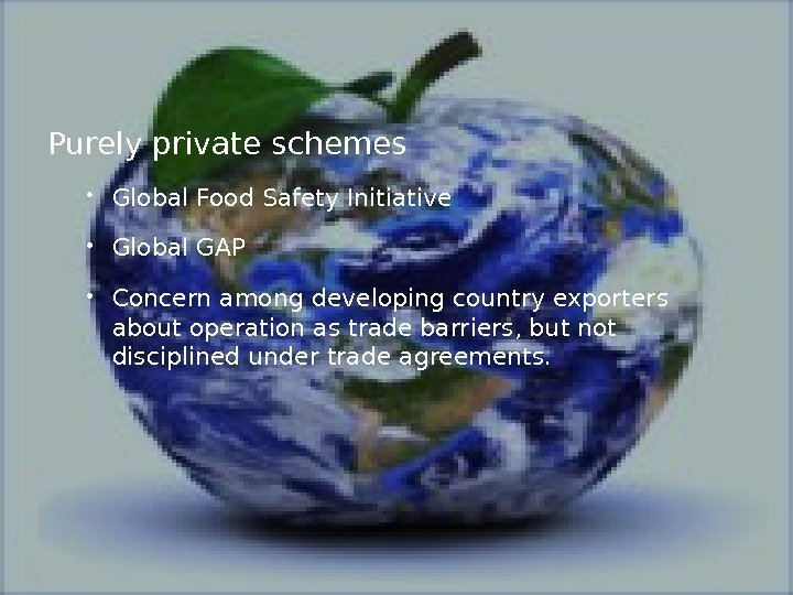 Purely private schemes  Global Food Safety Initiative Global GAP  Concern among developing