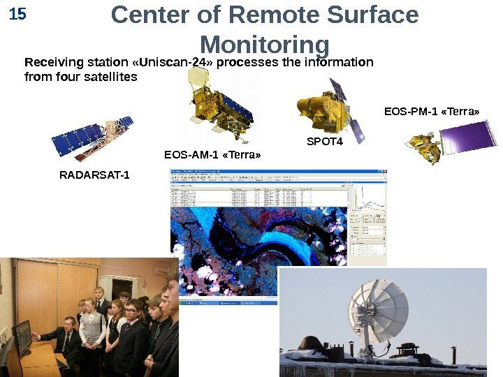 15 EOS-AM-1 «Terra» SPOT 4 RADARSAT-1 EOS-PM-1 «Terra» Receiving station «Uniscan-24» processes the information