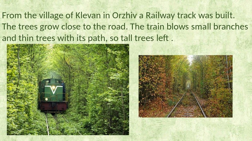 From the village of Klevan in Orzhiv a Railway track was built.
