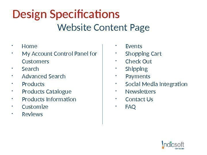 Design Specifications Website Content Page Home  My Account Control Panel for Customers