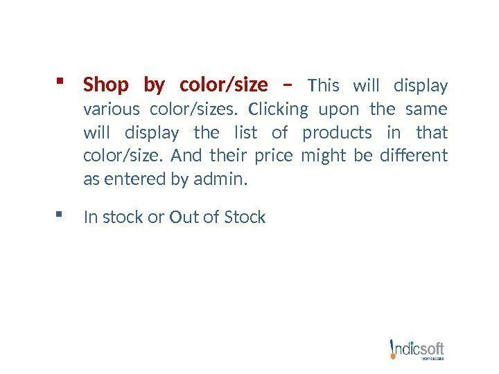 Shop by color/size – This will display various color/sizes.  Clicking upon the