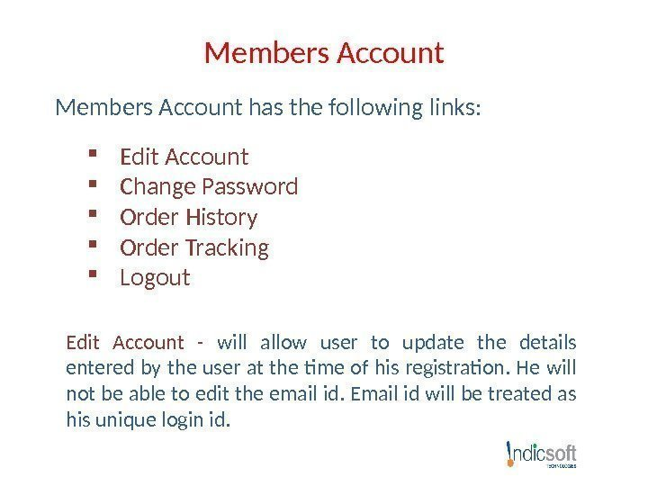 Members Account has the following links:  Edit Account Change Password Order History Order