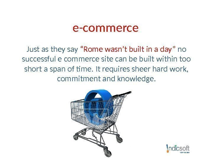 "e-commerce Just as they say ""Rome wasn't built in a day""  no successful"