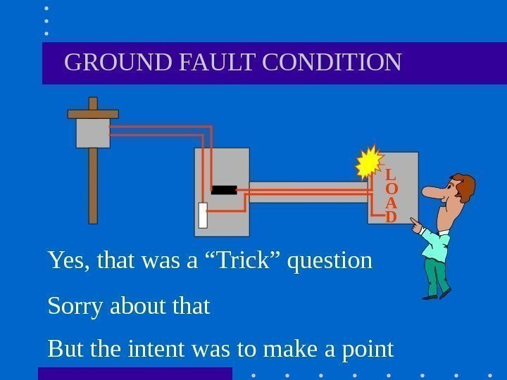 "GROUND FAULT CONDITION Yes, that was a ""Trick"" question Sorry about that"