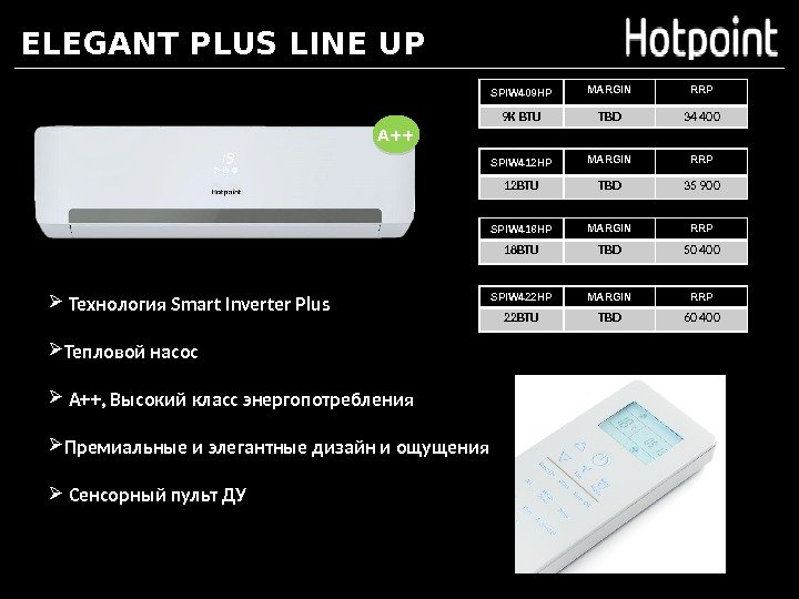 ELEGANT PLUS LINE UP A++ SPIW 409 HP MARGIN RRP 9 K BTU TBD