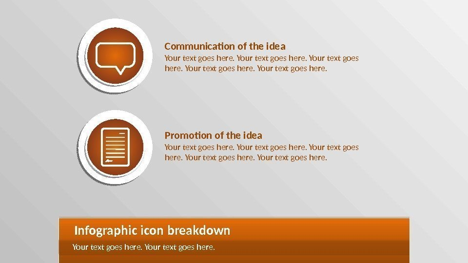Communication of the idea Your text goes here. Promotion of the idea Your text