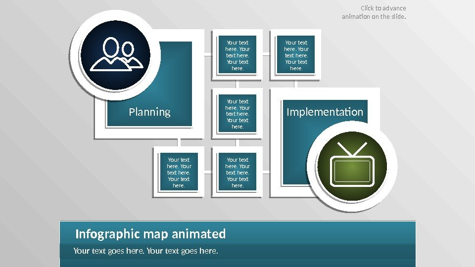 Planning Implementation Infographic map animated Your text goes here. Your text here. Click to