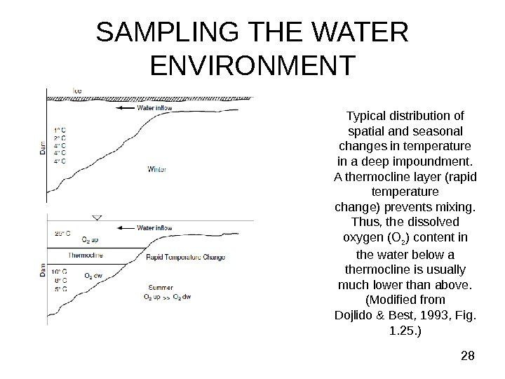 28 SAMPLING THE WATER ENVIRONMENT Typical distribution of spatial and seasonal changes in
