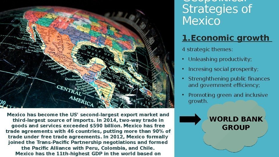 Geopolitical Strategies of Mexico 1. Economic growth 4 strategic themes:  • Unleashing productivity;