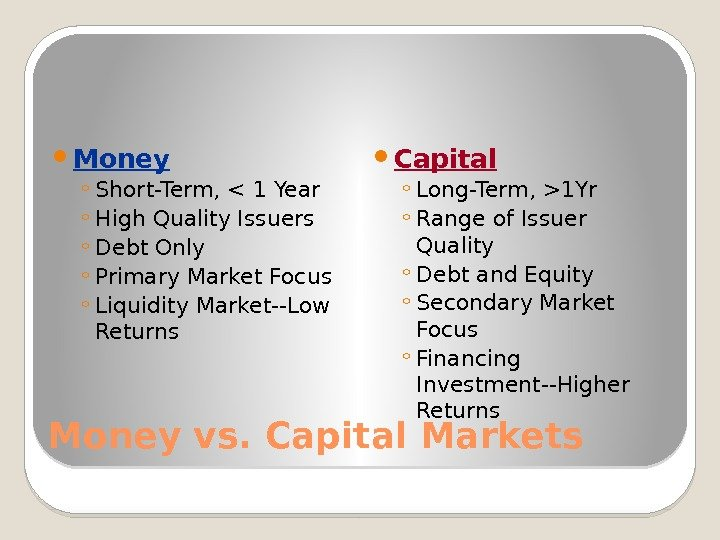Money vs. Capital Markets Money ◦ Short-Term,  1 Year ◦ High Quality Issuers