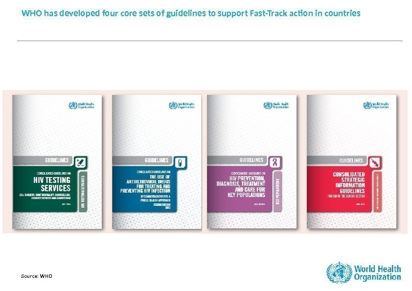 WHO has developed four core sets of guidelines to support Fast-Track action in countries