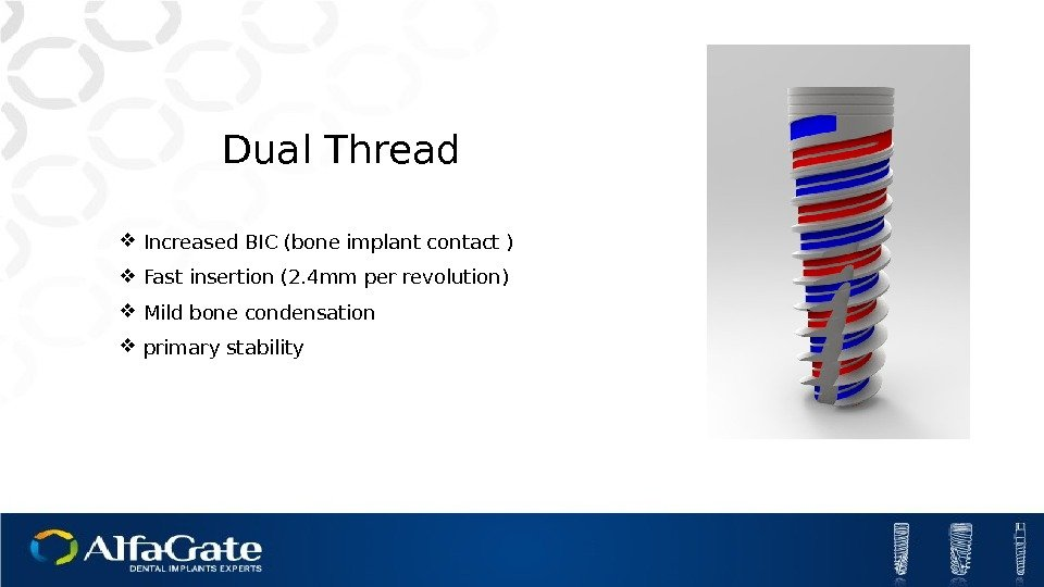 Dual Thread Increased BIC (bone implant contact ) Fast insertion (2. 4 mm per
