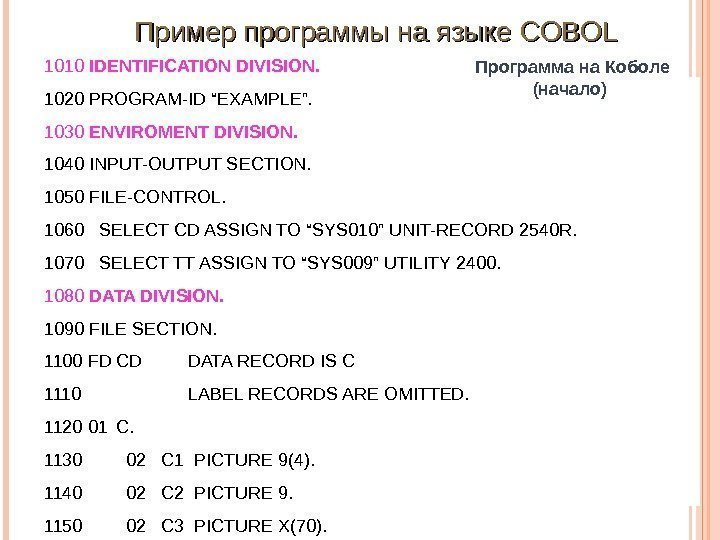 "Программа на Коболе (начало)1010 IDENTIFICATION DIVISION. 1020 PROGRAM-ID""EXAMPLE"". 1030 ENVIROMENT DIVISION. 1040 INPUT-OUTPUTSECTION."